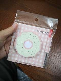 Cute Doughnut Stick note pad with pen