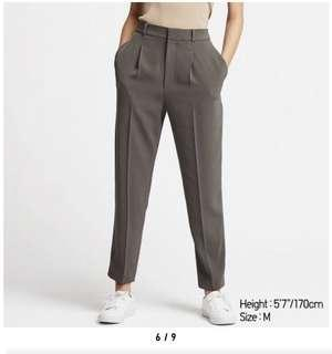 Uniqlo drape tapered angkle length pants - Olive