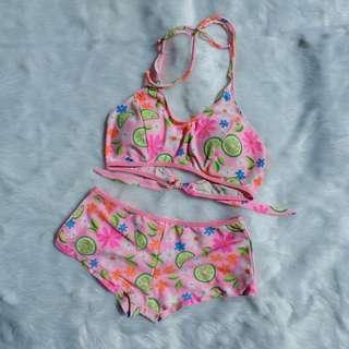Pink Printed Two Piece Swimsuit