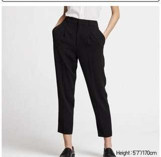 Uniqlo drape tapered angkle length pants - black