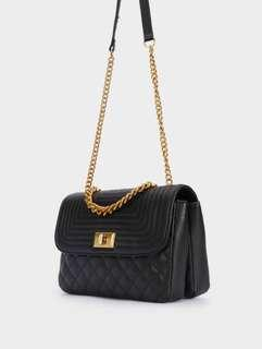 Parfois Mary Quilted Flap Chain Bag