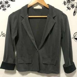 Dark Grey Cotton Blazer