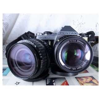 PENTAX ME-SUPER+M50/1.4 +A28/2.8