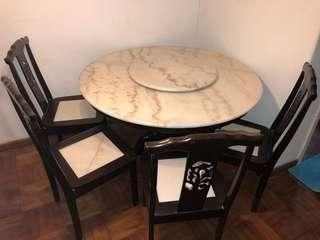 Dining table marble with 4 chair