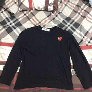 COMME DES GARCONS PLAY CDG Black Long Sleeve Red Heart
