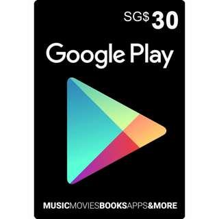 Google Play Giftcard SGD30