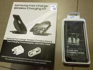 Brand New Samsung Wireless Charger stand + Clear View Note 9