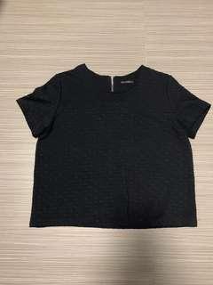 🚚 [XL] textured black boxy top