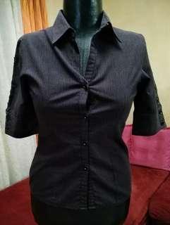 3/4 button-down blouse