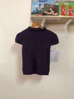 🚚 紫色 高領 毛衣 短袖 上衣 古著 二手
