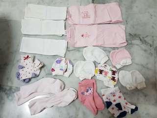 Baby socks, mittens, tummy binder