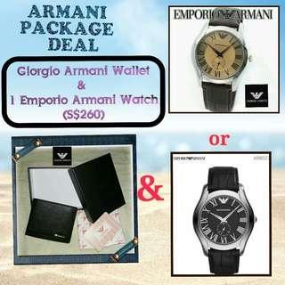 (Stock on 20Apr-2 sets ) Armani package deal :  Giorgio armani genuine leather wallet & 1 Emporio Armani unisex Watch (choice of AR 1704 or AR 8027)