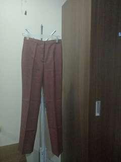 Celana Bahan Coklat Brown Pant Highwaist