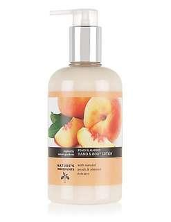 Marks and Spencers Natures Ingredients Peach and Almond Hand and Body Lotion 300ml