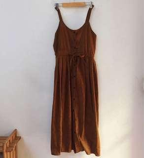 🚚 復古排扣蝴蝶結綁帶麂皮連身裙 洋裝