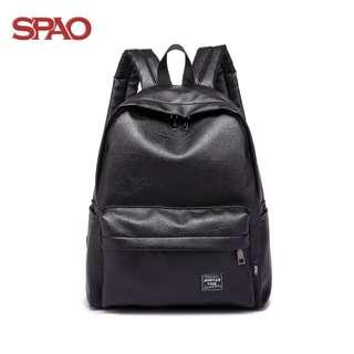 SPAO Leather Backpack South Korea Schoolbag Style Backpack for Unisex (Black)