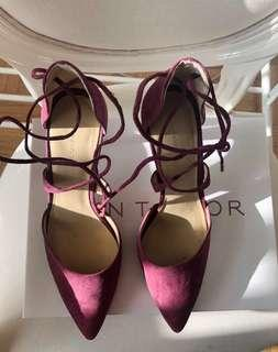 Dark ruby suede crossover pumps