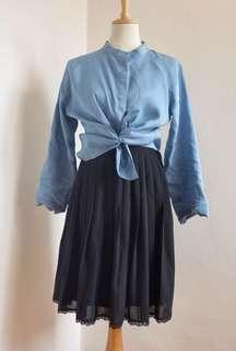 Pleats linen skirt