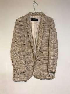 全新吊牌外拆 ZARA 小香風 象牙裸色系 毛呢 大衣外套 L號 肩40/衣長77公分 原價2490元