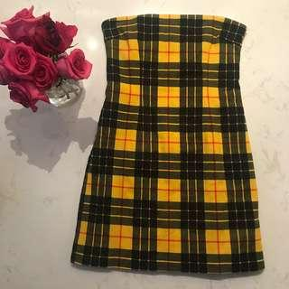 💛 CLUELESS VIBES 💛 Tiger Mist Yellow Plaid / Check Strapless Dress