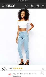 AMERICAN APPAREL MOM JEANS CROPPED