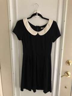 A-line black dress with white Peter Pan collar - size MEDIUM