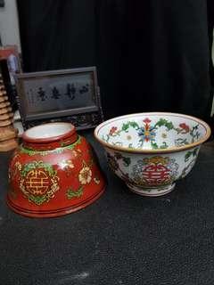Vintage Red and White Glazed Flower Bowl