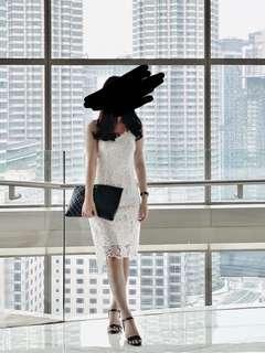 Premium Crochet Lace White Dress