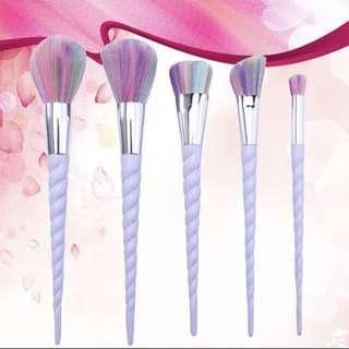 5 Unicorn Make Up Water Colour Rainbow Brushes Set