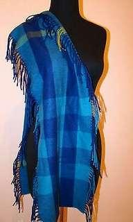 Bnwt Authentic Burberry Check Cashmere Fringed Scarf