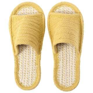 🚚 全新/無印良品印度棉室內前開拖鞋/M/原色×芥黃 M23.5-25cm