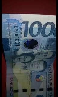 1000 peso serial number 100001