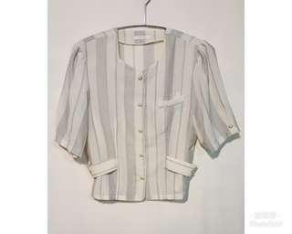 《壓箱寶》二手古著 灰白線條襯衫/小外套