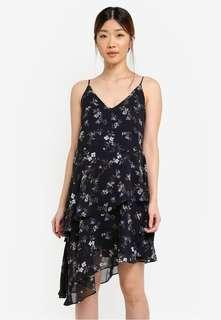 Floral Layered Asymmetric Cami Dress in Navy