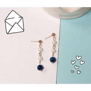 🚚 星空系列🌙珍珠水晶風 手工 長耳飾 耳環 耳勾