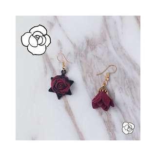🚚 六芒星 暗黑 酒紅玫瑰🌹手工 耳勾 耳飾 耳環