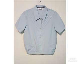 《壓箱寶》二手古著 水藍縮口襯衫