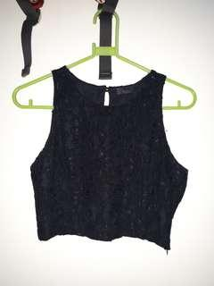 Black lace crop top - NEVER USED