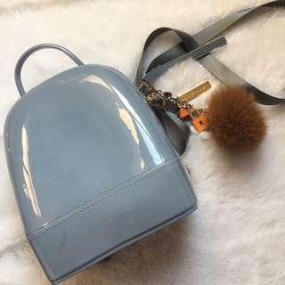 Donna Lyssa Jelly Baby Blue Grey Backpack Fur Ball