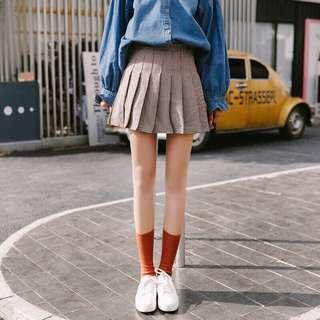 🚚 韓版學院風高腰百摺A字褲裙