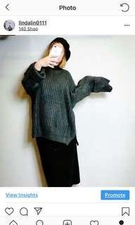 🚚 綠色寬鬆大尺碼文青森林系長袖毛衣上衣