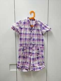 Purple checkered jumpsuit