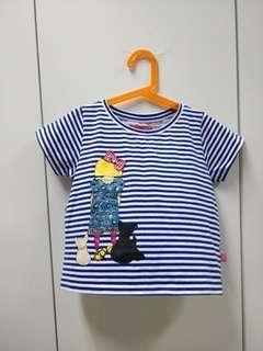 Kids blue stripe crop top