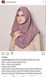Hijab Jilbab Pasmina Instan Womenneed warna Dusty Purple