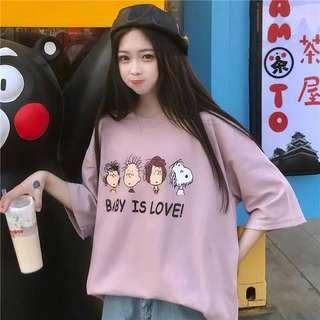 🚚 春季韓版史努比好朋友圖騰短T