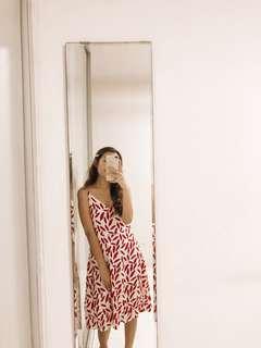 Red Leaves Midi Dress