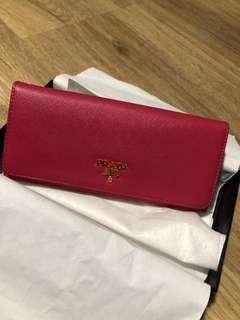 🚚 Prada Saffiano Hot Pink Wallet - 100% Authentic
