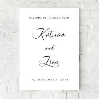 Wedding welcome sign calligraphy poster