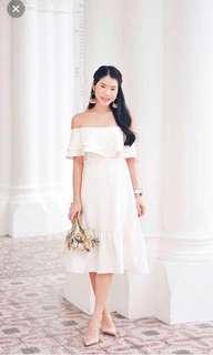 Mikayla Ally Ruffle Drop Hem Dress (White)