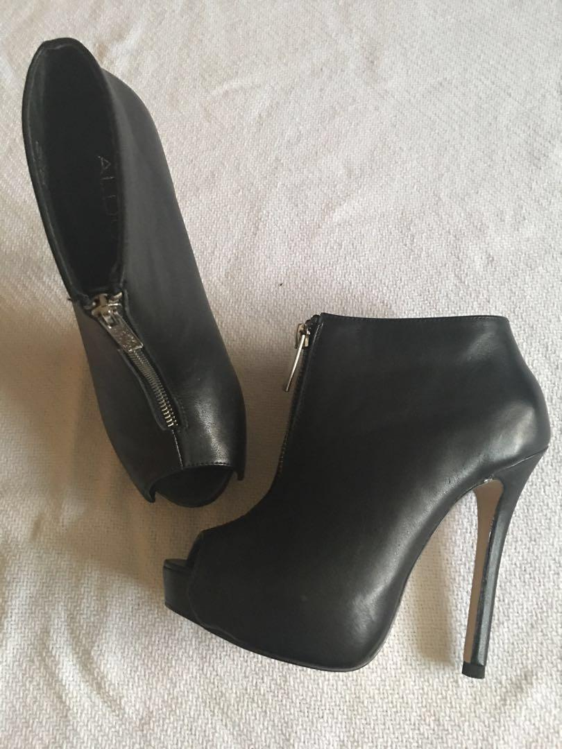 Aldo black leather peep-toe booties - Size 6 *JUST MARKED DOWN*